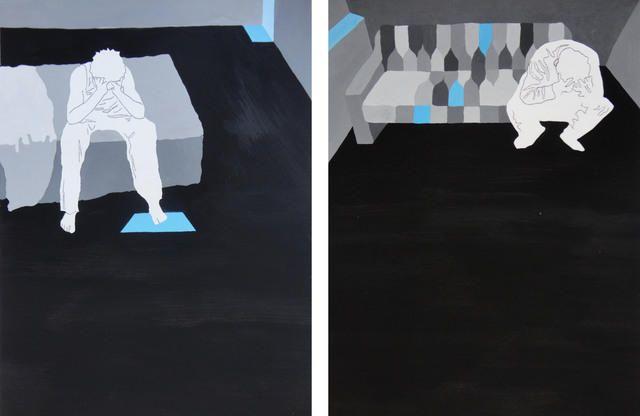 Fabiano Devide, 2012 / Díptico de impressão de carbono e pintura guache sobre papel Canson 200g / 47x31cm / 6x R$500