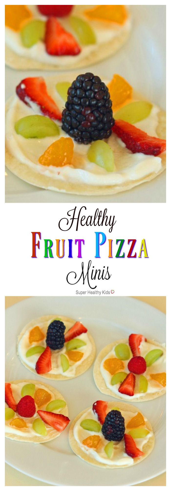 Healthy Fruit Pizza Minis. A quick, no-bake snack that will not disappoint! http://www.superhealthykids.com/healthy-fruit-pizza-minis/