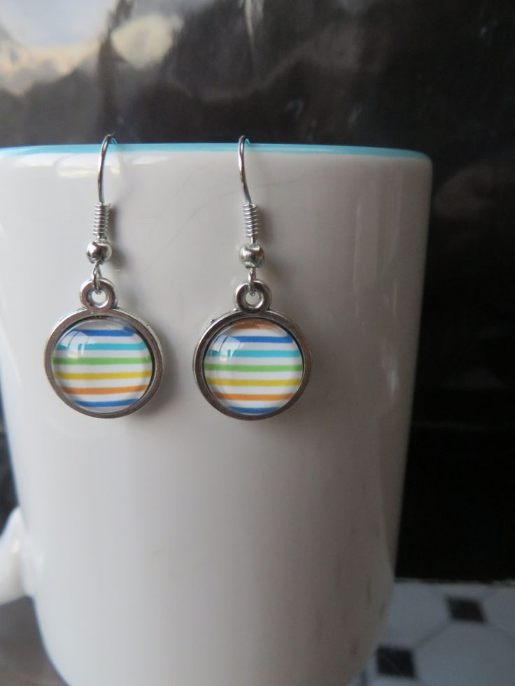 Rainbow Stripe Earrings 12mm - Stud, Dangle or Lever Back - Silver - Multi Color, Colour, Rainbow - pinned by pin4etsy.com