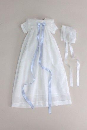 Dåbskjole og dåbskyse, kortærmet med sømandskrave i hvid hør-bomuld blanding: CD16 Oli Prik Dåbstøj