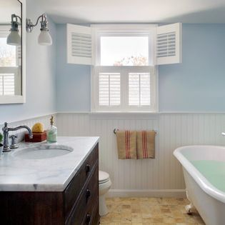 """The paint color is Benjamin Moore """"Breath of fresh air"""". We always recommend doing a sample before selecting it for a room, as it may look different in your space. Cape Cod Renovation - beach-style - Bathroom - Boston - kelly mcguill home"""