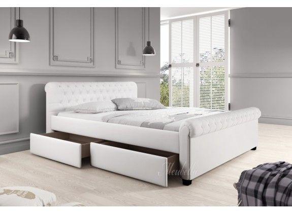 Tweepersoonsbed Romantic is een opvallend, modern bed en een echte eyecatcher. Dit model is afgewerkt met onderhoudsvriendelijk kunstleer in de kleur wit. Handig is dit bed ook; er zijn namelijk 4 brede lades onder het bed geplaatst zodat er veel opbergruimte ontstaat voor bijvoorbeeld beddengoed. Bij de prijs is ook een standaard lattenbodem inbegrepen. https://www.meubella.nl/slaapkamer/bedden/tweepersoonsbedden/tweepersoonsbed-romantic-wit-leer-140x200-cm.html