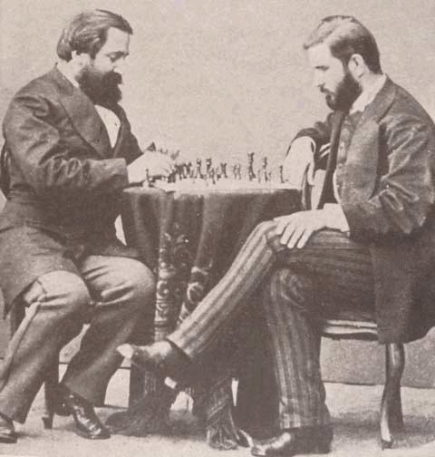 Ilia Chavchavadze and Ivane Machabeli playing chess, Saint Petersburg