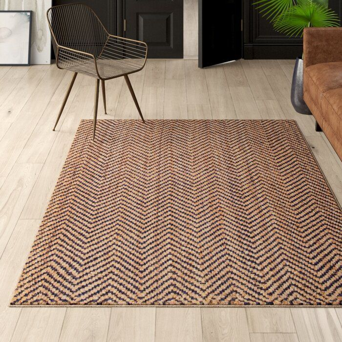 Bourland Chevron Handmade Tufted Jute Navy Tan Area Rug Rugs Area Rugs Beige Area Rugs