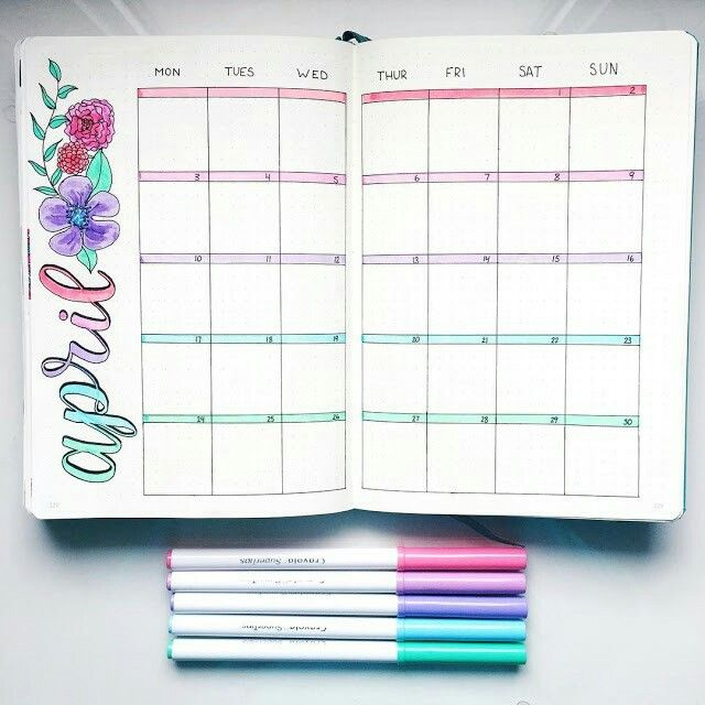 15 Super Pretty Monthlies    .....     Inspiration for your bullet journal or candy for your eye, it's all good. Like this beautiful flowery April calendar.