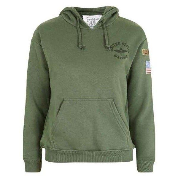 TopShop Petite Airforce Hoodie ($68) ❤ liked on Polyvore featuring tops, hoodies, topshop tops, green hoodie, jersey top, hoodie top and green hoodies