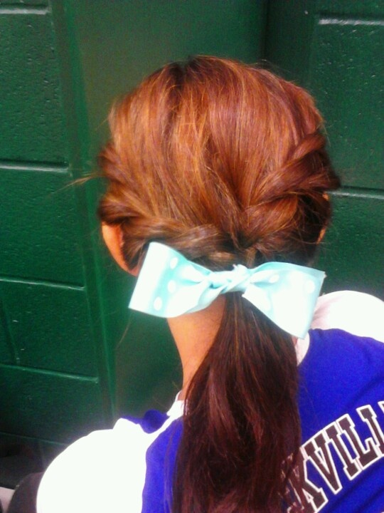 hair for a volleyball game i think i will try this my sister can do it