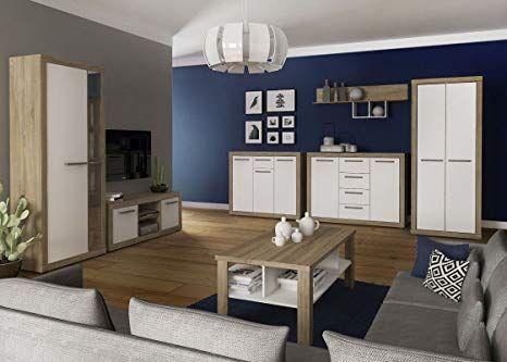 Wohnzimmer Komplett - Set A Madryn, 7-teilig, Farbe Eiche Sonoma