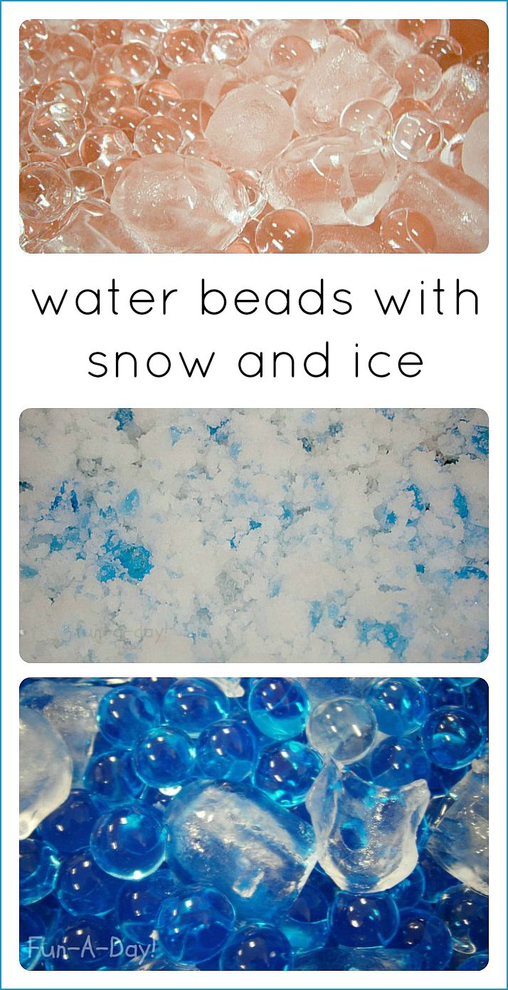 Water beads with snow and ice make great winter sensory activities for kids