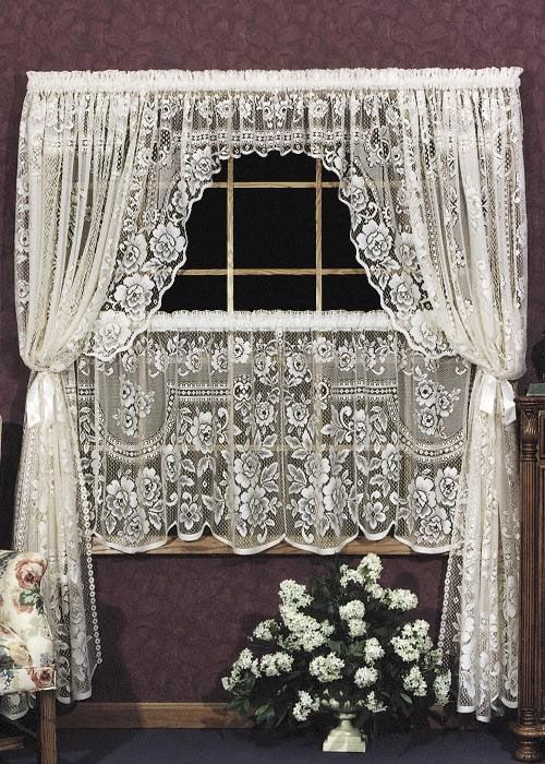Victorian Swag Curtains   Victorian Rose 72×38″ Swag Pair – Heritage Lace 2860ES-PR, 2860WS ...