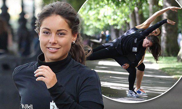Louise Thompson looks stunning as she trains for London triathlon