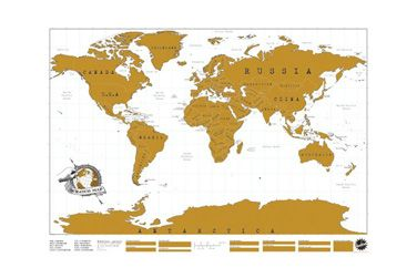 This world map is perfect for those who love to travel!  Personalize your map by scratching off  the gold foil layer over all the places you have visited and reveal them in colour and geographical detail.   You will have your very own unique world map to hang up on the wall and decorate your office or apartment.  What a conversation piece and planning tool for your next trip. This map will be a work in progress with your continued globetrotting.  Measures : 32..2 W x 22.9.
