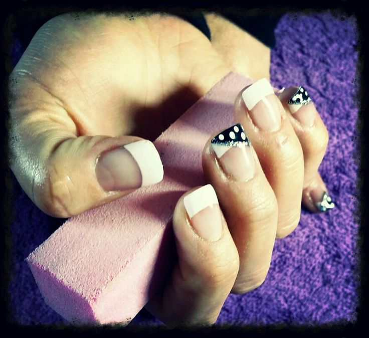 French nails with polkadot art