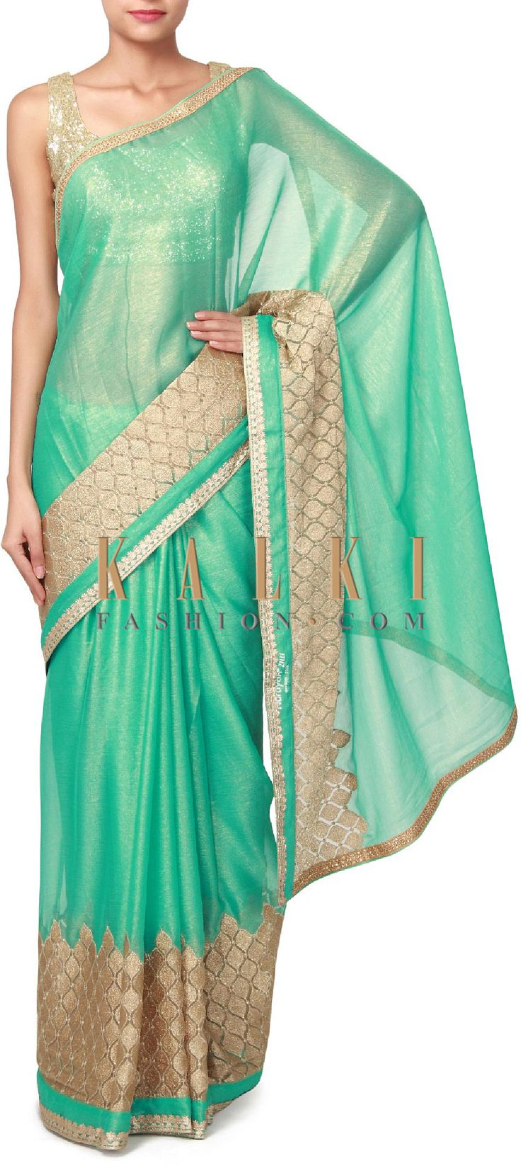 Buy Online from the link below. We ship worldwide (Free Shipping over US$100). Product SKU - 306185. Product Price - $119.00. Product link - http://www.kalkifashion.com/sea-green-saree-adorn-in-zari-weave-embroidery-only-on-kalki.html
