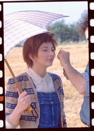 "Kate Bush on set of the ""Cloudbusting"" video shoot, 1985."