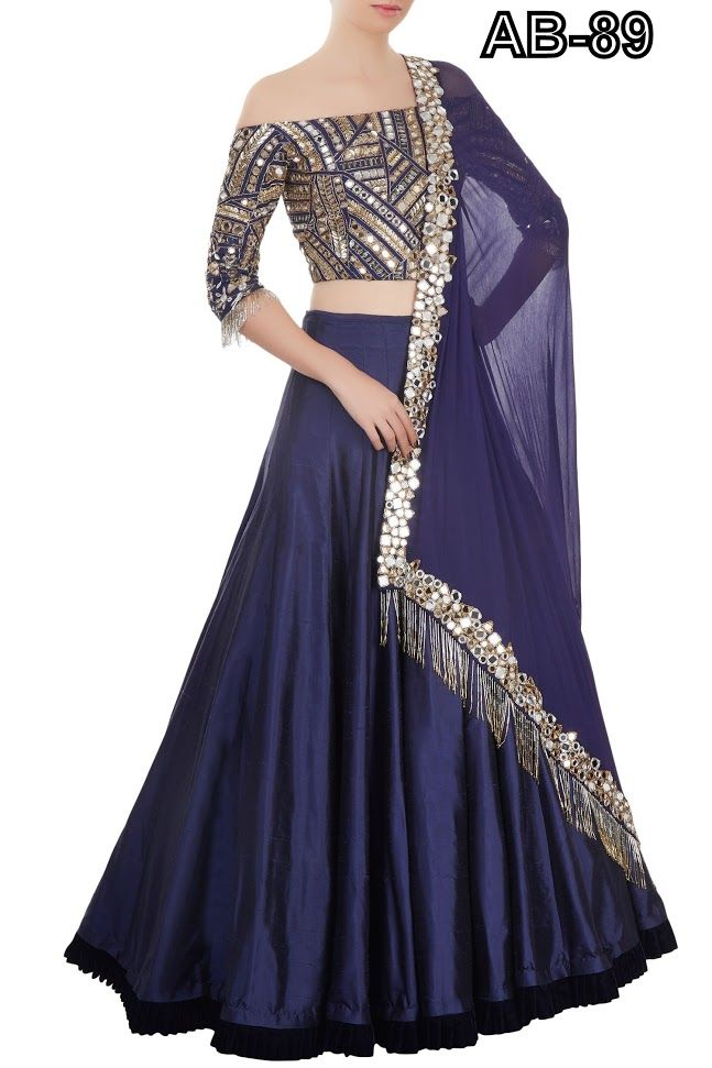 b1c46ec05c0 Buy Astha Bridal blue mirror LEHENGA Online at Low prices in India on  Winsant