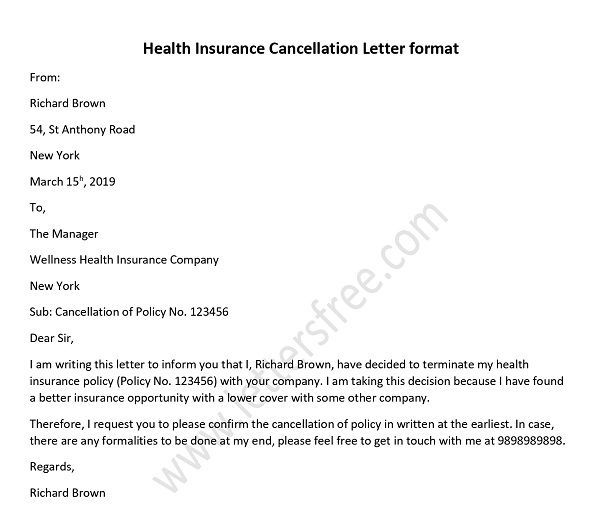 Health Insurance Cancellation Letter How To Write A Letter Health Insurance Health Insurance Quote Health Insurance Companies