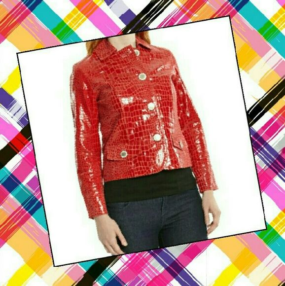 "BEREK 100% Leather Red Snake-skinned Jacket NWT! This delicious jacket is PP - which means it may run a tad bit smaller than average Petites! Measurements - Top of shoulder to hem: 20.5"", Top of shoulder to bottom of sleeve: 23.25"", Armpit to armpit: 17"" across. Please use the offer button for all offers. Feel free to bundle for a 10% discount. Sorry loves, no trades. Berek Jackets & Coats"
