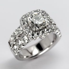 Jewelry Diamond : Cushion Cut Diamond Ring from Oliver Smith Jeweler.