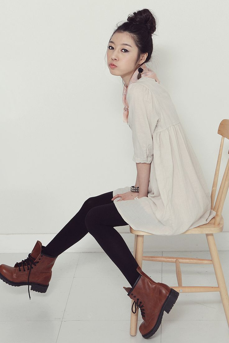 Chunky Brown Boots, Opaque Black Tights, Loose Natural Cotton Dress... Simply Hipster