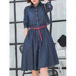 Button Down Mini Chambray Shirt Dress