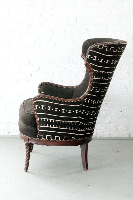 Our Mali chair is upholstered with beautiful textured African Mud cloth straight from Mali! We are in love with African Mud cloth at the studio!!