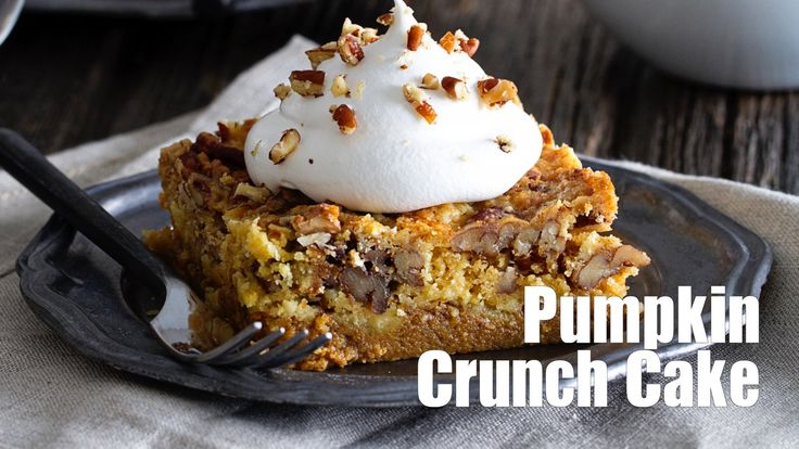 Pumpkin Crunch Cake is a classic fall dessert. Loaded with spices and topped with a dollop of whipped cream, it will quickly become your go-to dessert.