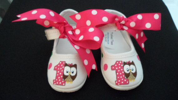 Polka Dot Owl Birthday Hand Painted Girls Shoes