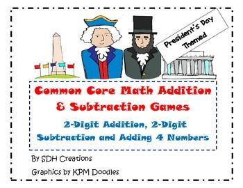 These are 5 Math games for practicing 2-digit addition, 2-digit subtraction and adding 4 numbers together. These games were made using clipart for Presidents Day. The games are Roll and Write and Race to the ________ (There are different versions of each game.)For adding (and subtracting) 2-digit numbers, the games use 2 dice- 1 with numbers 10-15 and 1 with the numbers 25-30.