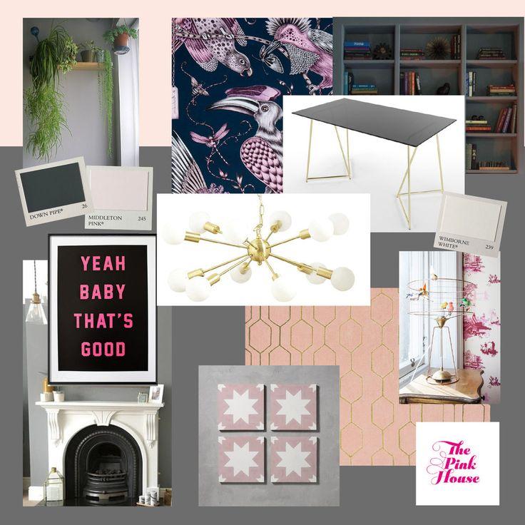 The Pink House study moodboard with Dexter sputnik Marks & Spencer chandelier, pink Pradena Bert & May tiles, Made.com Patrizia glass desk