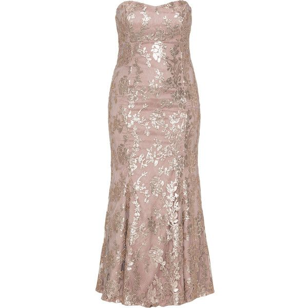 Ariella Dusky-Pink Plus Size Sequin embroidered evening gown (€330) ❤ liked on Polyvore featuring dresses, gowns, plus size, strapless maxi dress, pink maxi dress, floral gown, floral maxi dress and plus size evening gowns