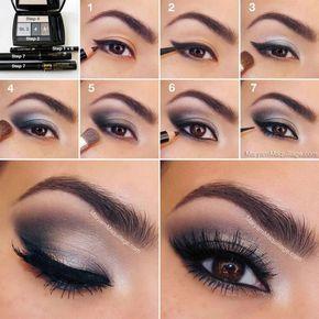 Instrucciones de maquillaje de ojos en tonos gris oscuro y morado