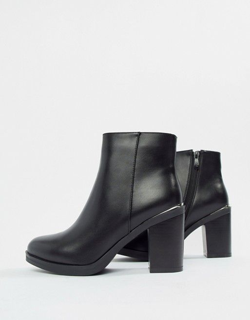 67e608714 Raid Wide Fit | RAID Wide Fit Lorena Black Plated Heeled Ankle Boots