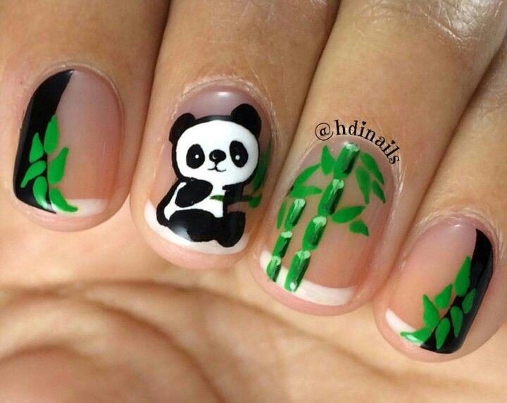 Panda bear & bamboo nail art