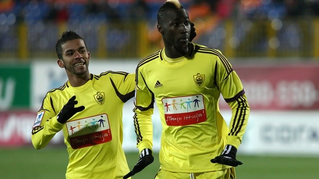 Mehdi Carcela-González & Lacina Traoré (FC Anzhi Makhachkala)  Mehdi Carcela-González and Lacina Traoré of FC Anji Makhachkala celebrate after scoring a goal during the Russian Premier League match against FC Rubin Kazan