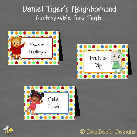 Daniel Tiger Birthday Food Tents Labels Buffet by BeeBeesDezigns