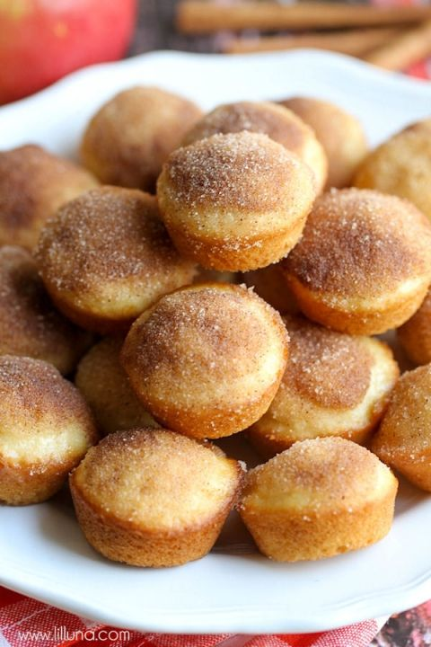 Mini Applesauce Muffins with cinnamon and sugar - a quick and delicious treat the whole family will love. Get the recipe on { lilluna.com }