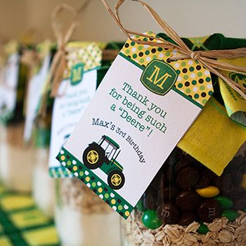 """This John Deere 3rd birthday party is so creative and fun!It was submitted by my lovely customer Kysa and photographed by Rebecca Cote Photography. Mom Kysa says, """"Max loves tractors and trucks, and as soon as I saw the ChickabugJohn Deere inspired printables and cookie ..."""