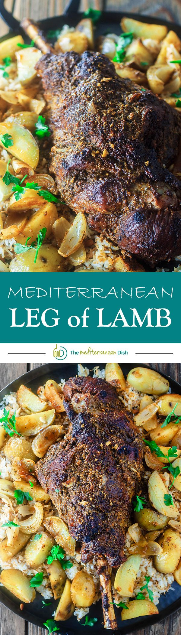 Mediterranean-style Leg of Lamb Recipe | The Mediterranean Dish. Leg of lamb covered in a Mediterranean rub of fresh garlic, spices, olive oil and lemon juice. Roasted with potato wedges and served over rice pilaf. A delicious Easter recipe or for your next family dinner! Recipe comes with step-by-step photos!