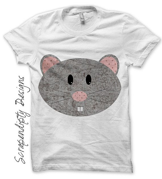 Mouse Iron on Shirt PDF - Animal Iron on Transfer / Grey Girls Mouse Shirt / Gender Neutral Baby Clothes / Boutique Toddler Clothing by ScrapendipityDesigns, $2.50