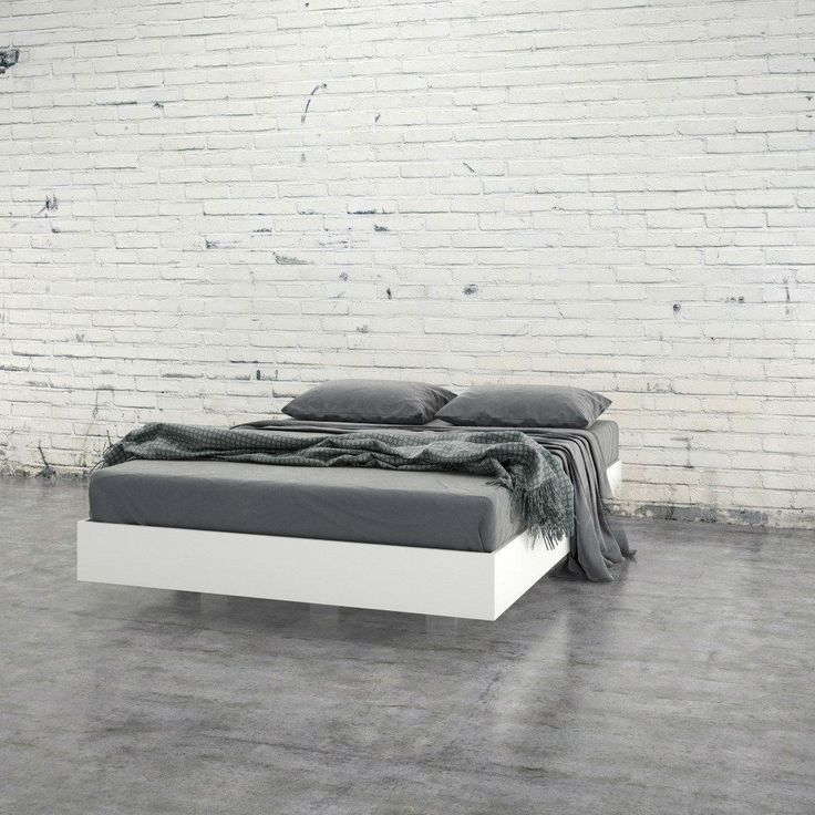 Modern Floating Style White Platform Bed Frame in Full Size
