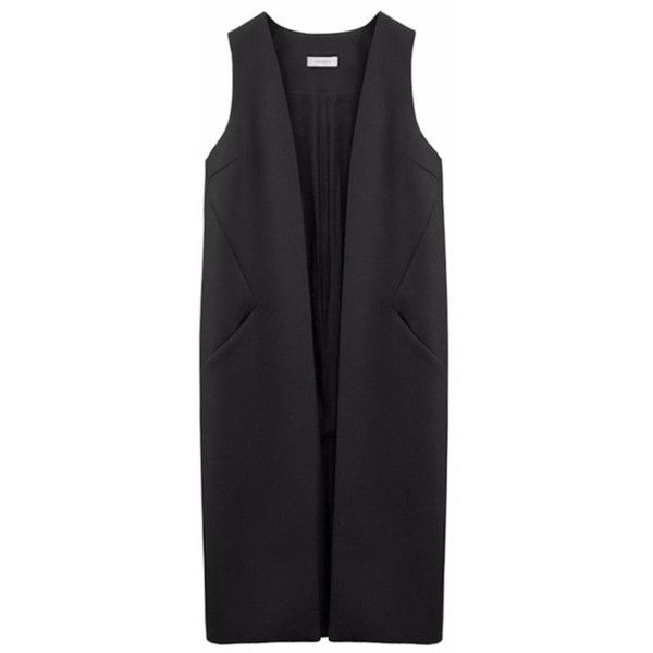 Thisisnon Merino Wool Long Vest ($503) ❤ liked on Polyvore featuring outerwear, vests, black, black waistcoat, open front vest, vest waistcoat, long waistcoat and merino vest