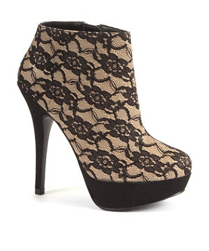 Black (Black) Kelly Brook Black Lace Shoe Boots | 260664801 | New Look