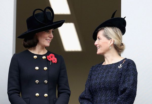 Kate Middleton Photos - Catherine, Duchess of Cambridge and Sophie, Countess of Wessex during the annual Remembrance Sunday memorial on November 12, 2017 in London, England.  The Prince of Wales, senior politicians, including the British Prime Minister and representatives from the armed forces pay tribute to those who have suffered or died at war. - The Royal Family Lay Wreaths At The Cenotaph On Remembrance Sunday