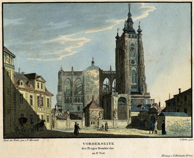 Vincenc Morstadt, J. Döbler, vydali dědici P. Bohmanna, lept s akvatintou, 1825. Tichý poklid panoval i místech, kde se dnes rozkládá západní část katedrály dostavěná v letech 1873 – 1929. Na rytině jsou dobře čitelné všechny drobné stavby, které se zde nacházel, včetně kaple sv. Vojtěcha.