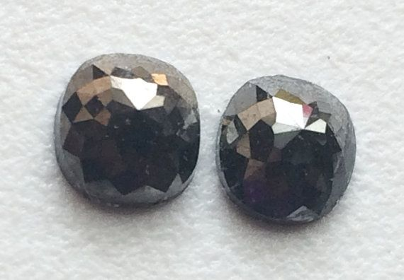 Black Rose Cut Diamond Matched Pair Cushion Cut by gemsforjewels