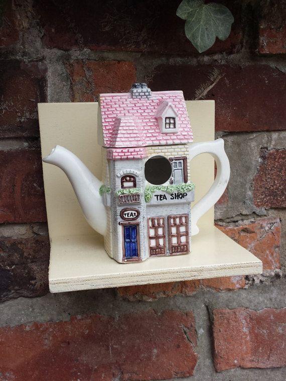 Teapot Bird House Vintage Teapot Bird By Prettyvintagehouse