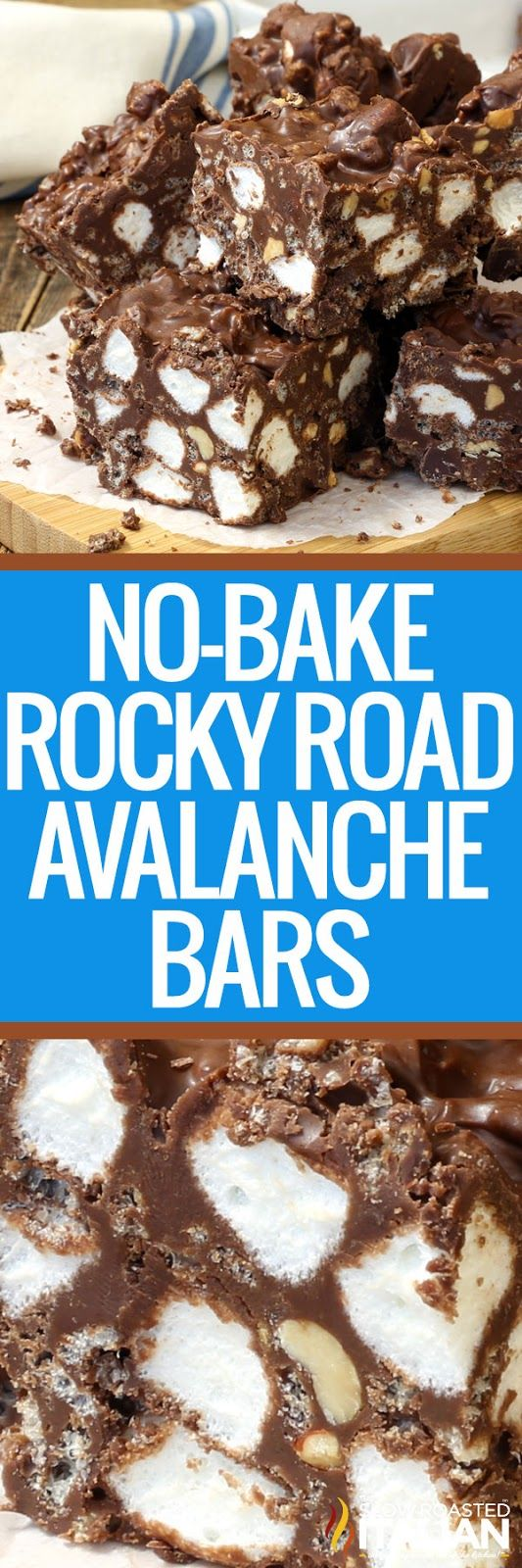 No-Bake Rocky Road Avalanche Bars are my latest obsession.  A simple recipe with chocolate and peanut butter with a candy crunch that comes together in a snap? Sign me up, twice!