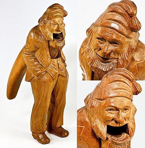 Grand Tour souvenir of Germany, Switzerland - Black Forest hand carved gnome nut cracker, c. 1880s-1900.  Photo credit: Antiques & Uncommon TreasureBlack Forests, Nut Crackers, Carvings Nutcrackers, Hands Carvings, Carvings Gnomes, Gnomes Nut, Forests Hands, Wood Carvings, Forests Nutcrackers