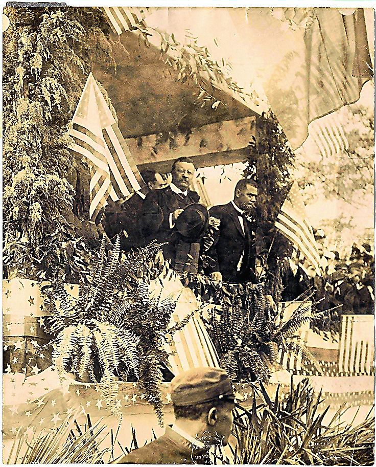 "Republican President Theodore ""Teddy"" Roosevelt and Booker T. Washington at the Tuskegee Institute, Alabama. 1905.  He was the first president to invite a black man to the white house"